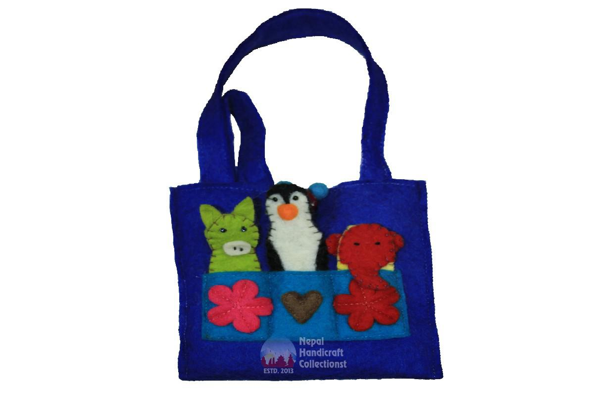 FELT HAND BAG WITH FINGER PUPET