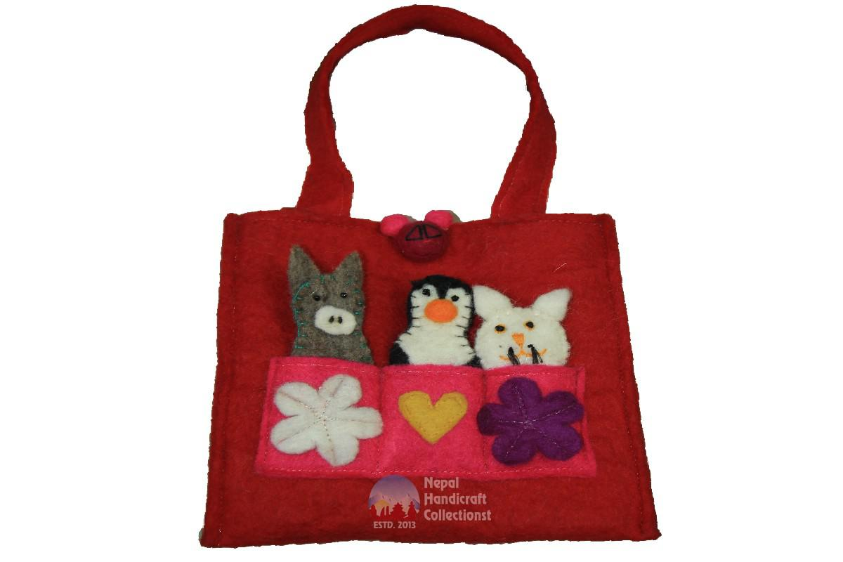 FELT HAND BAG, WITH FINGER PUPET