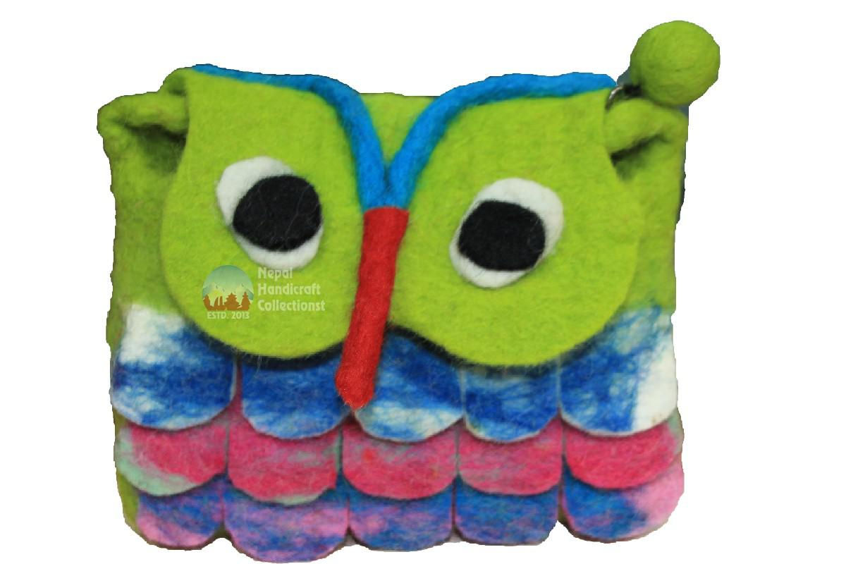 Felt purse green mix