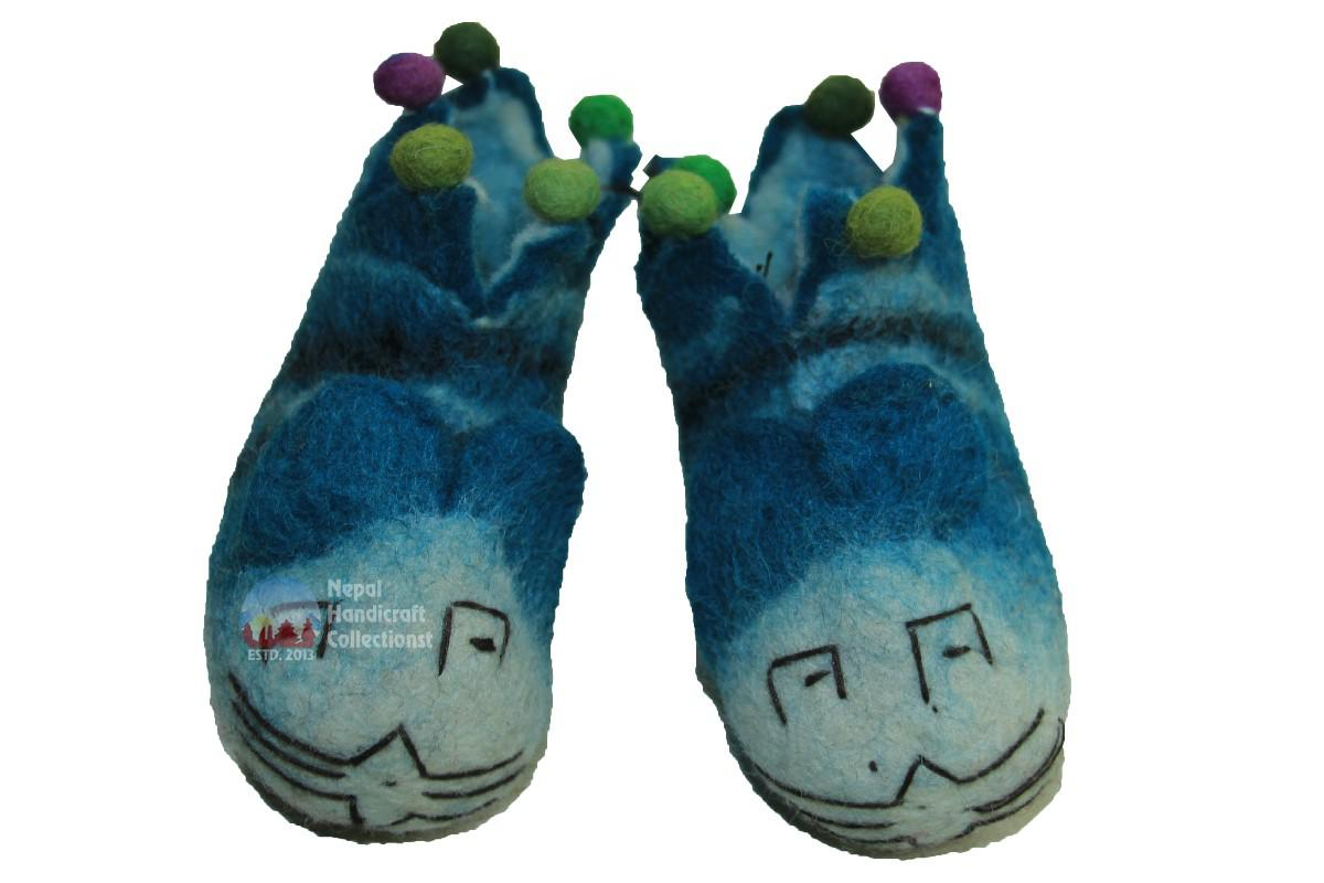 felt shoes blue mix