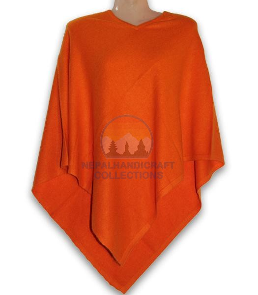 100% Pashmina Pancho.Orange