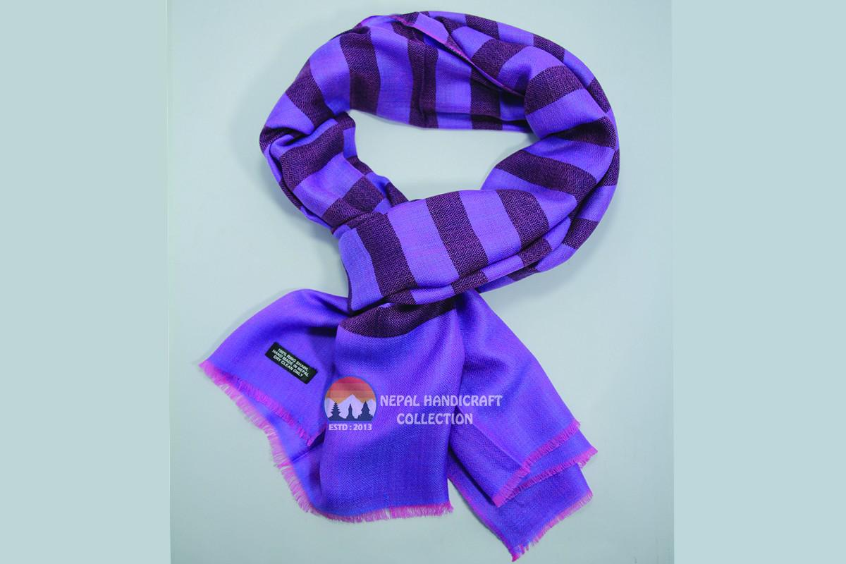 200 Count ultra thin pashmina shawl -Purple With stripe