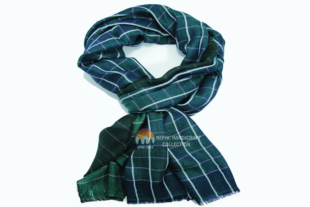 200 Count ultra thin pashmina shawl -Green with stripe