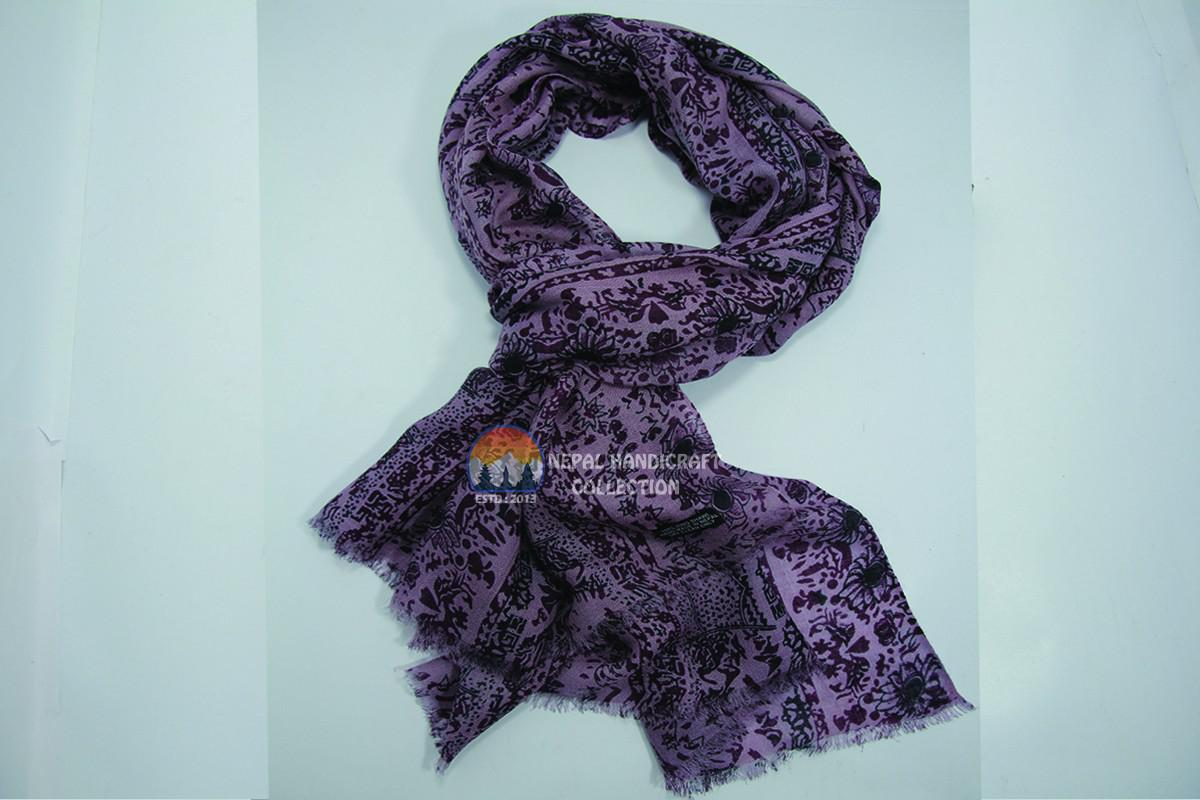 200 Count ultra thin pashmina shawl -Purple with print