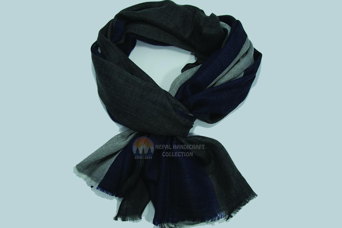 200 Count Ultra thin Pashmina Shawl -Navy Blue & gray