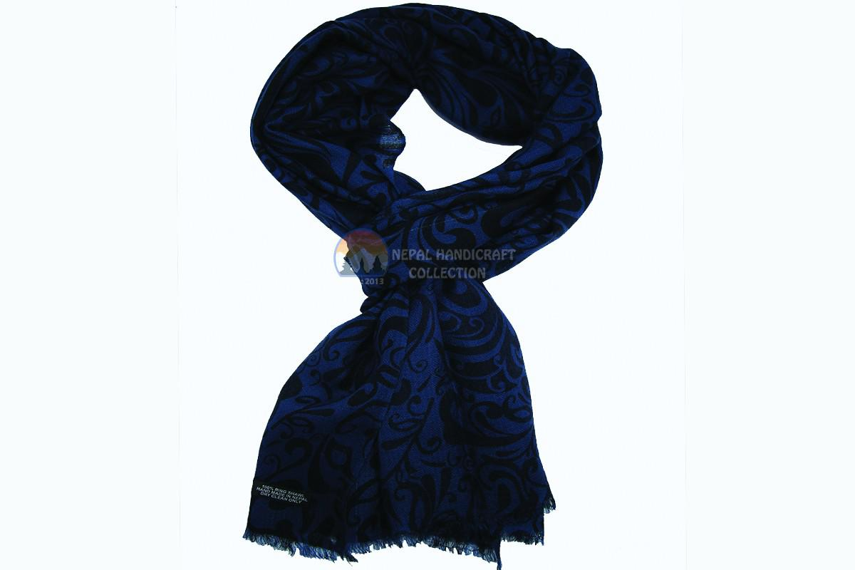 200 Count Ultra thin Pashmina Shawl - Nevy Blue print