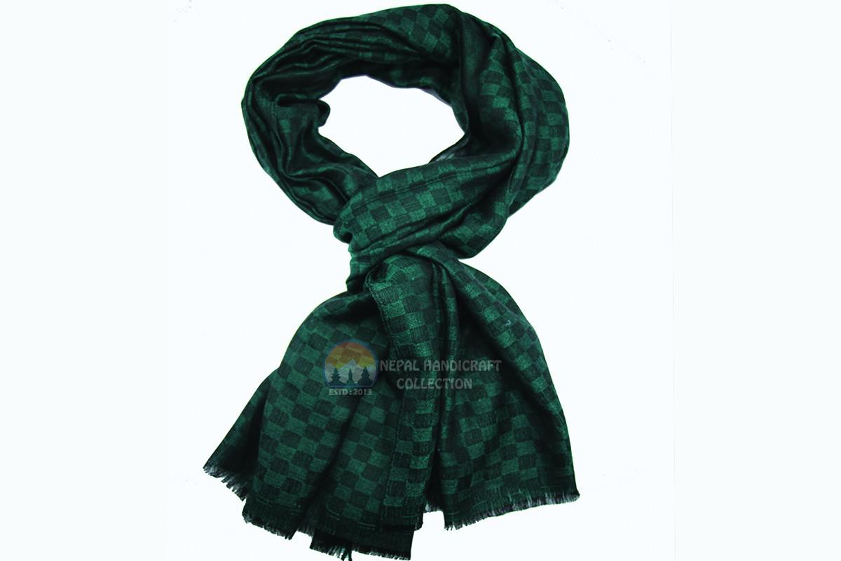 200 Count ultra thin pashmina shawl -Green with black