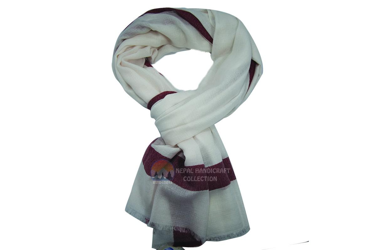 200 Count Ultra thin Pashmina Shawl - White with red strip