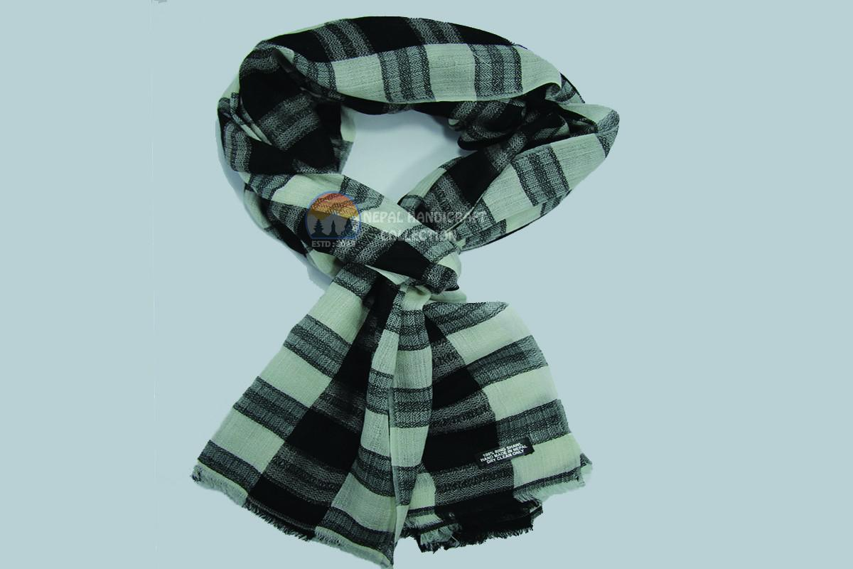 200 Count Ultra thin Pashmina Shawl - White Black stripe Unisex