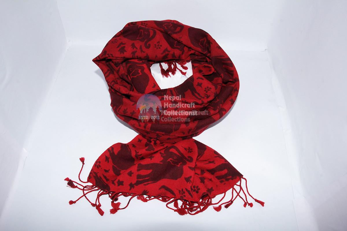 Pashmina 70-30 shawl ,Red