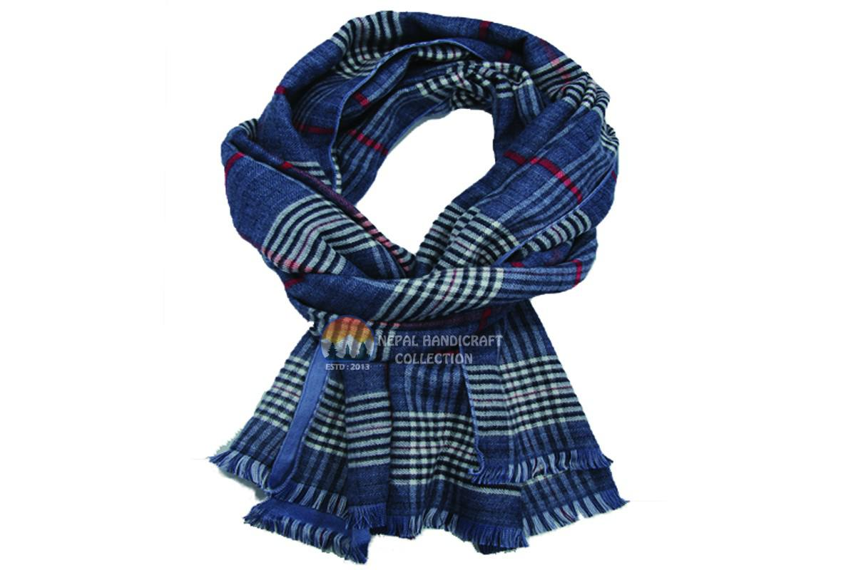Pashmina shawl - Blue & stripe