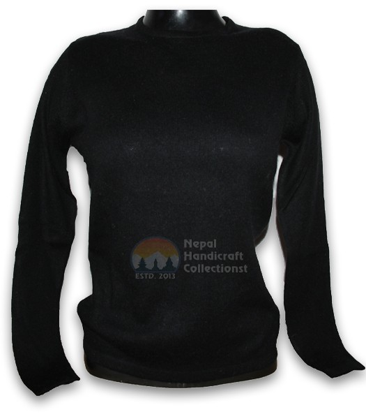 100% Pashmina ledis sweater round neck-black