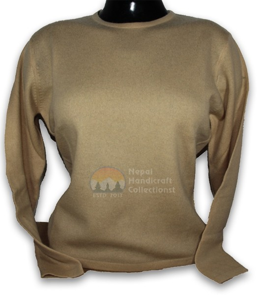 100% Pashmina ledis sweater round neck-cream