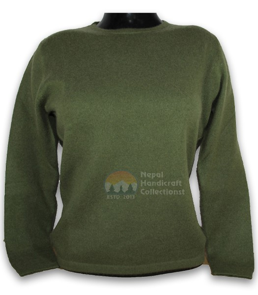100% Pashmina ledis sweater round neck-Green