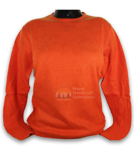 100% Pashmina ledis sweater round neck-Orange