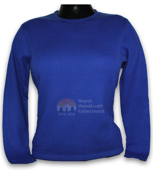 100% Pashmina ledis sweater round neck-Royal