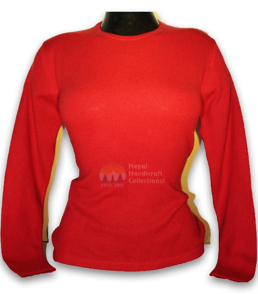 100% Pashmina ledis sweater round neck-Red