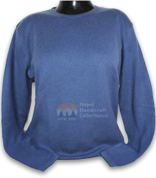 100% Pashmina ledis sweater round neck-Sky Blue