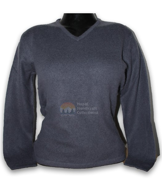 100% Pashmina ledis sweater v neck-Gray