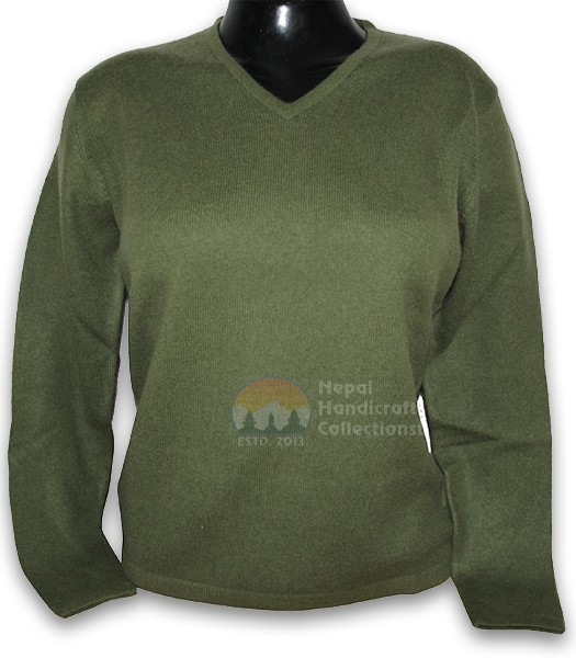 100% Pashmina ledis sweater v neck-Green
