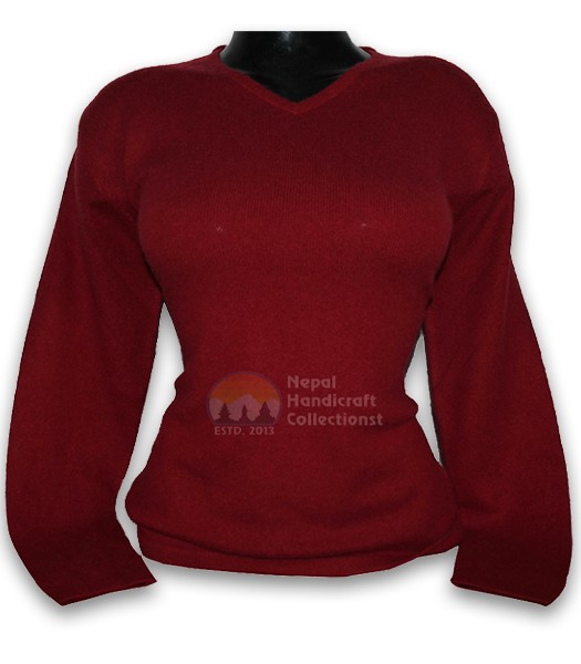 100% Pashmina ledis sweater v neck-marron