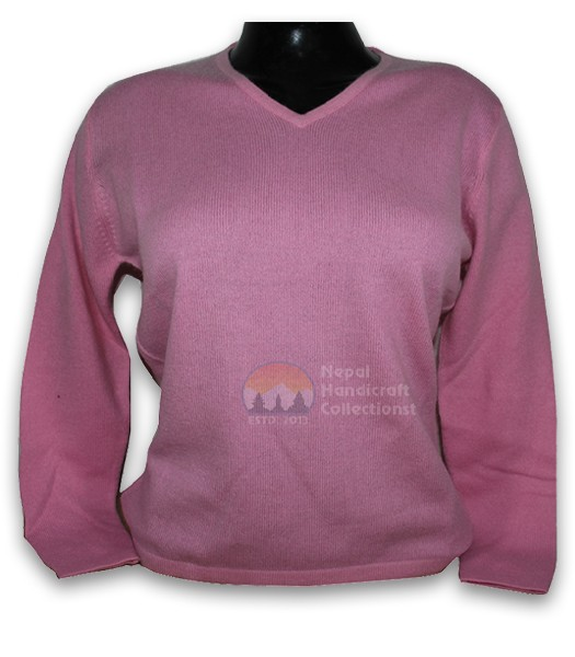 100% Pashmina ledis sweater v neck-pink