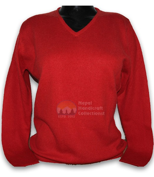 100% Pashmina ledis sweater v neck-red