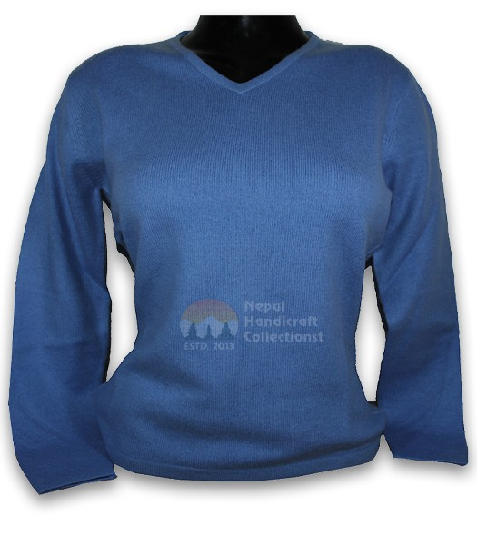 100% Pashmina ledis sweater v neck- Sky Blue