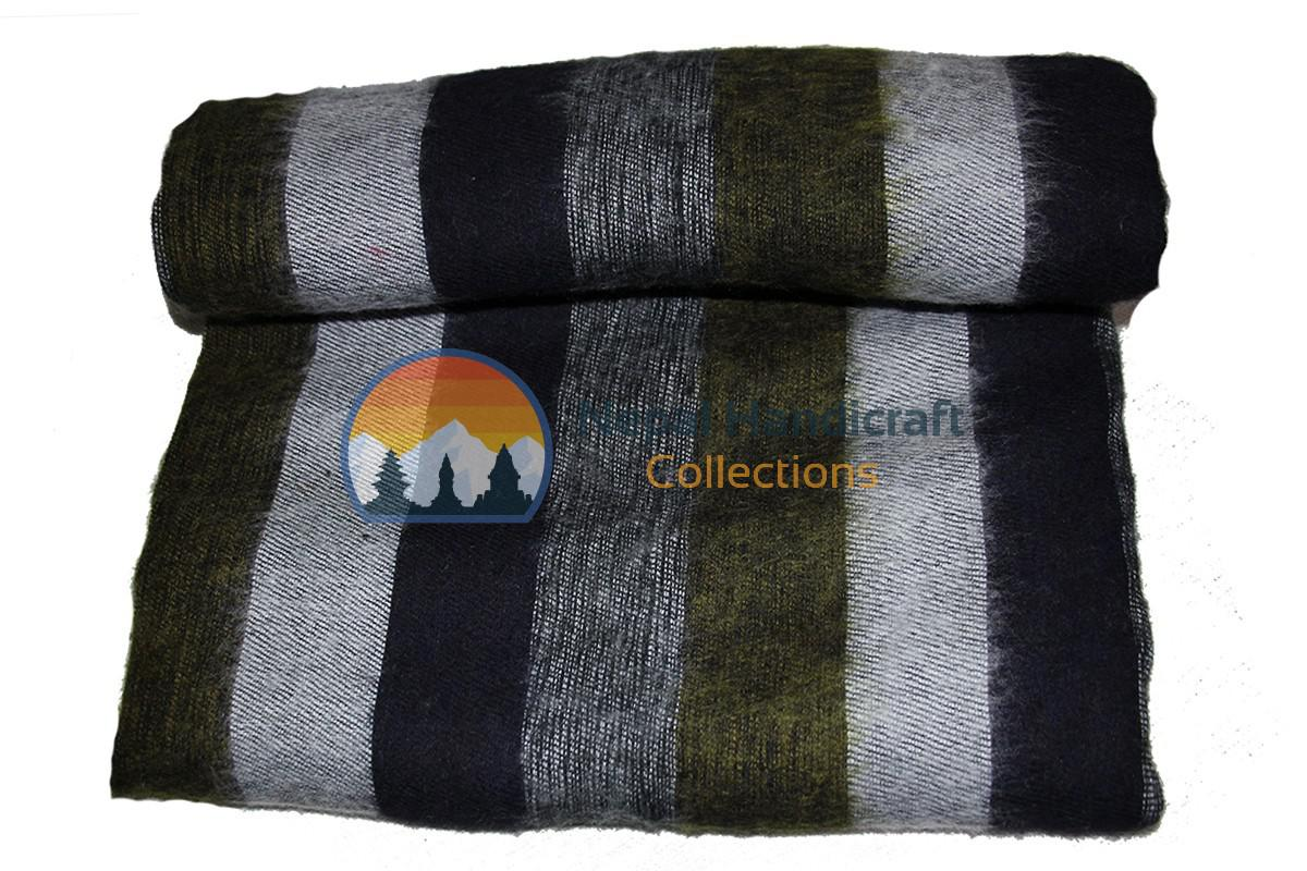 woolen blanket black stripe