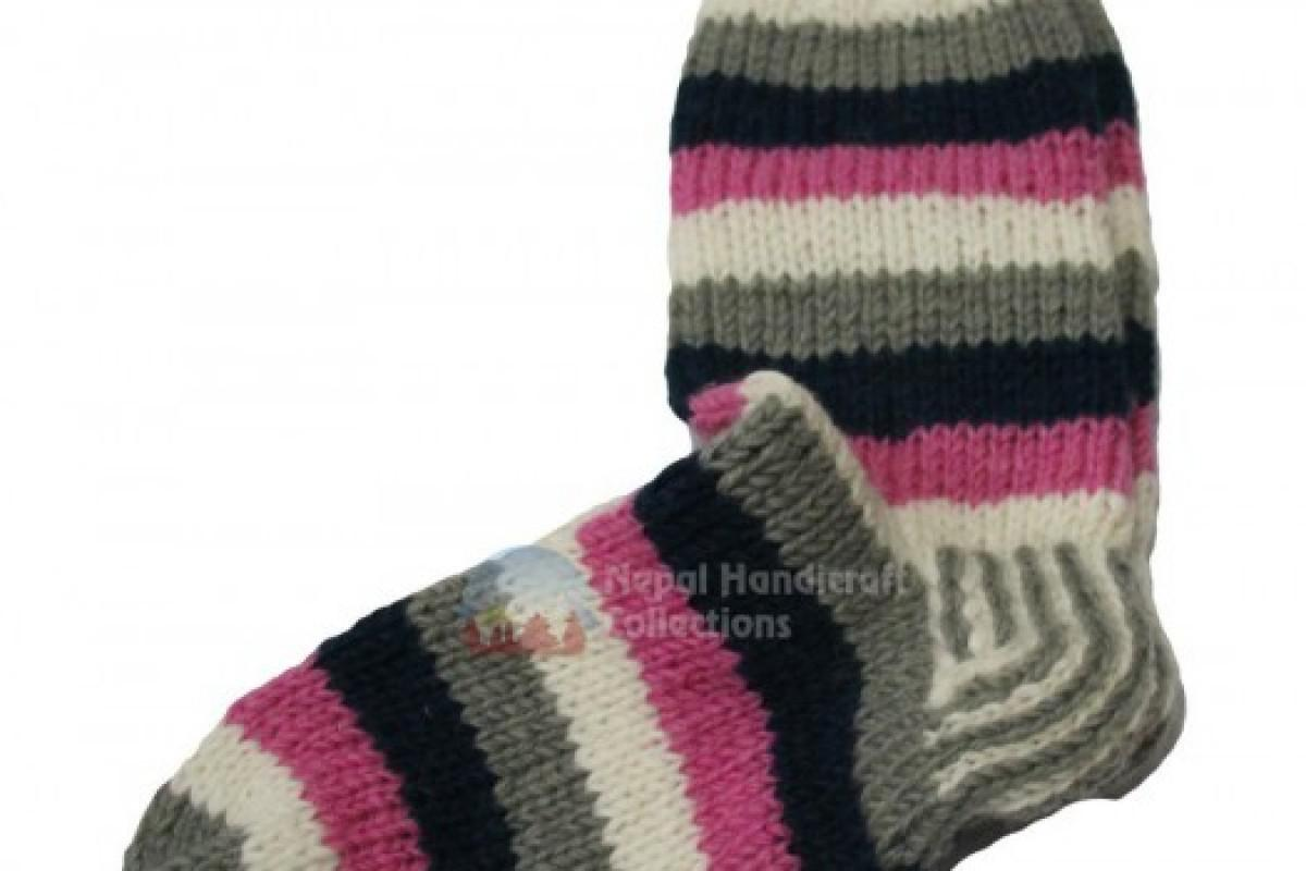 Woollen Socks white  Pink stripe