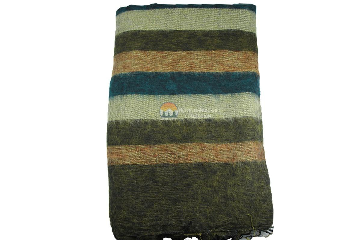 wollen blanket green stripe